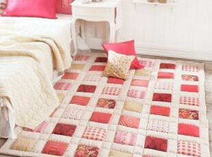 【韩国家居】田园风格格子色块甜美桃粉 大地垫爬行垫150*200,地毯,