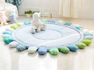 韩国代购 清凉蓝色太阳花夹棉加厚地垫宝宝爬行垫 圆形 游戏垫,地毯,