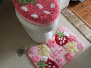 出口日本Mother Garden草莓地垫/地毯/马桶3件套 粉色,地毯,