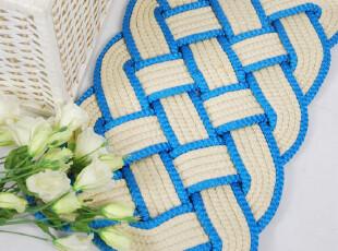 中国结编织多功能垫米蓝色,涤纶地垫,地毯,