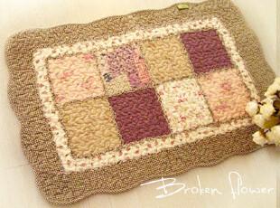 美丽说推荐日式田园绗缝地垫门垫床前垫飘窗垫地毯方块紫色40*60,地毯,