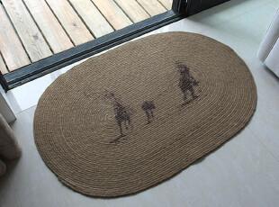 孟加拉 纯天然 异域风情 亚麻地垫/门垫/编织垫/鞋垫60*90CM Y61,地毯,
