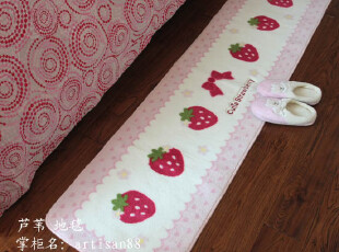 11新款 出口可爱经典印花草莓地垫/床前垫/门垫/脚垫 45*180,地毯,