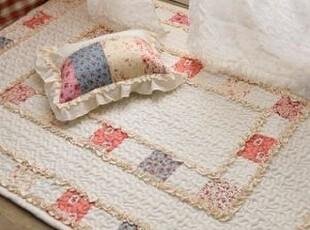 韩国正品代购田园碎花拼布衍缝地垫/客厅 卧室地垫 床前垫110cm,地毯,
