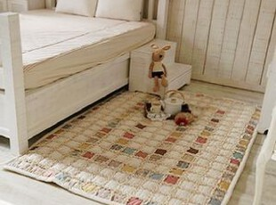 韩国进口代购田园小碎花荷叶边拼布衍缝地垫客厅地垫 防滑 定做,地毯,