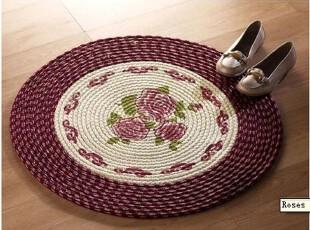 超值 爆款欧洲尾单 粉色玫瑰圆形手工编织毯/地垫/地毯 78CM圆形,地毯,