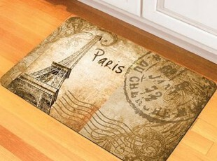 简单的奢华  现货 多用途怀旧明信片印花橡胶地垫门垫  限时9折,地毯,