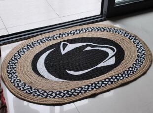 孟加拉 异域风情 亚麻地垫/门垫/编织垫 50*75CM HM 黑白,地毯,