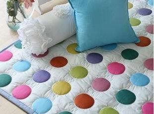 韩国正品代购 糖果色彩虹波点纯棉大地垫布艺地垫 宝宝爬行垫,地毯,