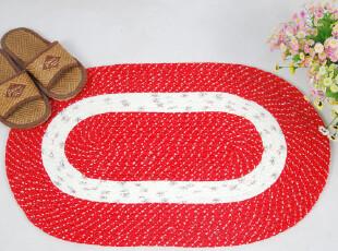 椭圆形编织多功能垫大红色防滑地垫,地毯,