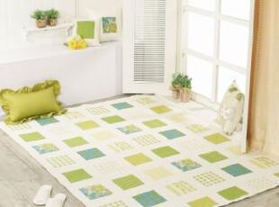 【韩国家居】田园风格格子色块 清爽绿 大地垫爬行垫145*200,地毯,