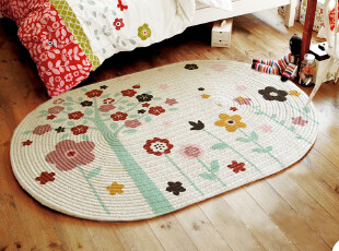 RoVing出口童话手工全棉超强吸水防滑地垫/床前垫多尺寸JS3,地毯,