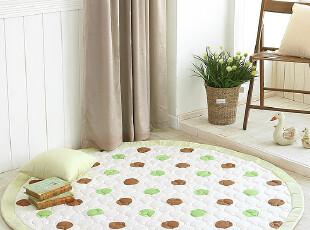 韩国进口代购 田园绿色圆点短绒爬行垫地毯地垫 A009,地毯,