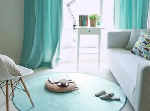 韩国代购短毛绒面超细纤维大号圆形卧室防滑地毯地垫/天蓝色1.5米,地毯,