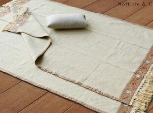 北欧表情出口日本特级棉线和风雅舍纯棉米色刺绣地毯2款可选,地毯,