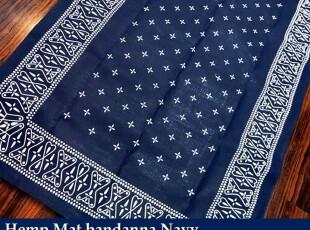 60年代/70年代復古北歐蓝色底白花印麻掛毯/地毯(現貨),地毯,