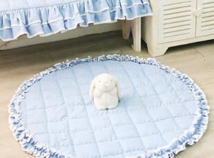 【韩国家居】全棉圆形淑女木耳边花边防滑地毯地垫 直径100cm,地毯,