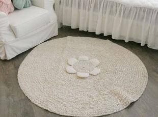 韩国代购家居花朵装饰圆型防滑客厅地垫 卧室地毯,地毯,