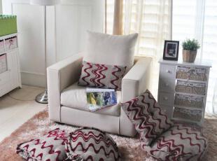 韩式梅红波浪坐垫 榻榻米 饼干枕 腰枕 五件套,坐垫,