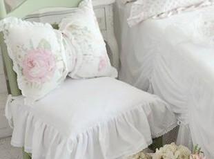 韩国进口代购 唯美浪漫木耳边布艺坐垫椅垫 含芯,坐垫,