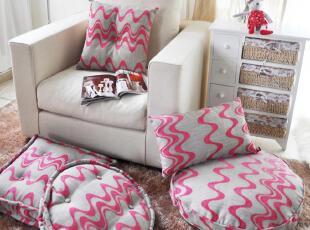 限量抢购  粉色波浪榻榻米 靠垫 坐垫 腰枕 抱枕五件套装,坐垫,