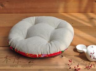 原创 花布配亚麻 圆坐垫 椅子垫 沙发垫 蒲团 塌塌米垫简约双面,坐垫,