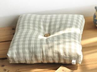 原创 水洗格子亚麻 坐垫飘窗垫椅子垫沙发垫塌塌米布艺冬季田园,坐垫,