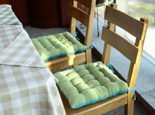 超柔软蓝绿双色系带椅子坐垫 绒面餐椅垫 40*40,坐垫,