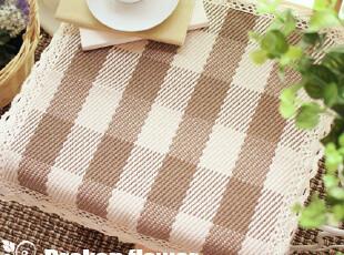 美丽说推荐外贸纯棉餐椅垫沙发垫座垫坐垫方形棕白格45*45,坐垫,