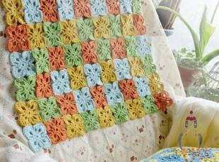 田园风格家居装饰 手工勾花毯 定做彩色拼花椅垫 空调被,坐垫,