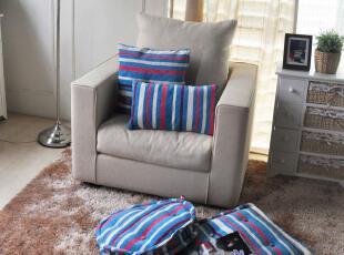 特价促销 清新蓝紫条纹坐垫 榻榻米 靠垫 四件套,坐垫,