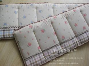 出口日本尾单棉麻钩边点缀玫瑰花长沙发垫  飘窗垫  43*136cm,坐垫,