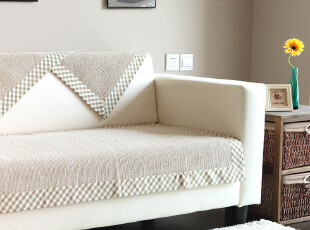 9903 经典欧风 格子边纯棉素色 沙发垫 坐垫 布艺 沙发坐垫 2入色,坐垫,