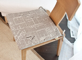 英伦风格 亚麻报纸餐椅垫 坐垫 座垫 椅子垫 外套可拆洗,坐垫,
