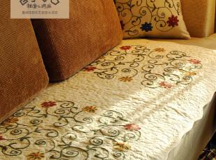 鲁绣田园纯棉水洗布沙发垫 外贸绗缝飘窗垫A110 椅垫 刺绣坐垫,坐垫,