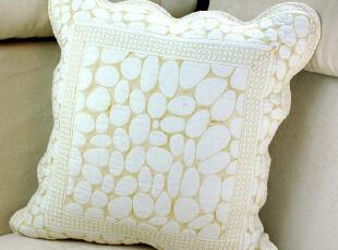 【田园生活】米白色纯棉小石头绗缝抱枕套 靠包 靠枕套 坐垫BZ18,坐垫,