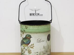 法式乡村 外贸复古小鸟图案家居铁皮花桶花器花插垃圾桶 两款选,垃圾桶,