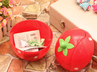 特价 日韩创意时尚 迷你草莓 桌面收纳桶 置物框篓 垃圾桶 纸巾盒,垃圾桶,