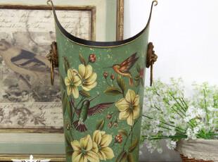 欧式乡村 外贸复古小鸟铁皮家居装饰花器花插花桶垃圾桶,垃圾桶,