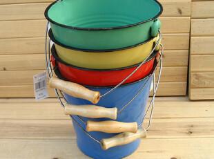 『樂樂堂』出口 怀旧风 ZAKKA杂货 20CM搪瓷水桶 垃圾桶 多色,垃圾桶,