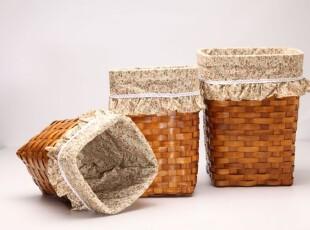 韩式碎花荷叶边收纳3件套 高型藤编纸篓垃圾桶 藤编脏衣服整理篮,垃圾桶,