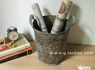 WANG ZAKKA 铁皮桶 垃圾桶 纸屑桶 插花 冰桶 做旧 复古,垃圾桶,