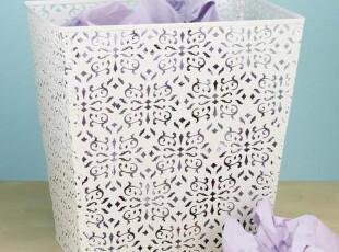 淘宝独家-北欧铁艺蕾丝花纹废纸篓/储物筒/收纳筒/杂物篓垃圾桶,垃圾桶,