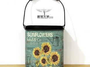 法式乡村 外贸复古太阳花图案家居铁皮花桶花器花插垃圾桶 两款选,垃圾桶,