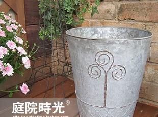 【庭院时光】怀旧杂货之白铁皮复古掐丝压花圆花盆/垃圾桶,垃圾桶,