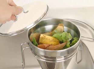 韩国代购进口家用不锈钢厨房杂物食物垃圾桶带盖收纳漏斗水槽挂件,垃圾桶,