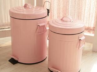 韩国出口田园公主粉色家用铁艺带盖垃圾桶 家居装饰品 现货正品,垃圾桶,