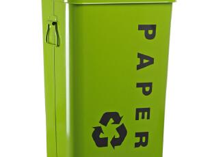 外贸原单 耐用 环保 红黄绿蓝 26L金属带盖简易储物箱 分类垃圾桶,垃圾桶,