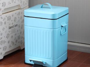 蓝色方形脚踩垃圾桶 地中海纸篓 卫生间家用脚踏时尚创意外贸宜家,垃圾桶,