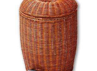 欧润哲 真藤编织苹果形状 藤制脚踏日式垃圾桶 家用厨房用具可爱,垃圾桶,